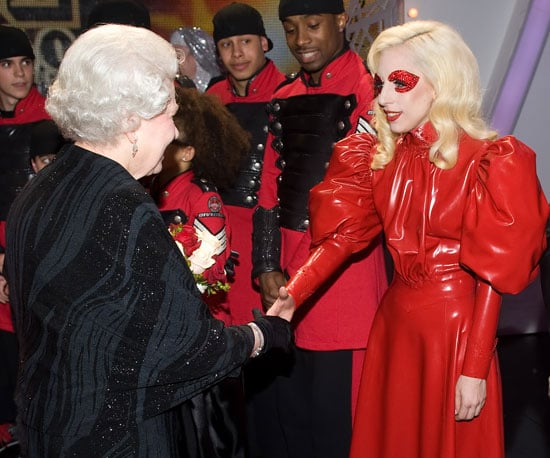 Slide Photo of Lady Gaga and Queen Elizabeth in England