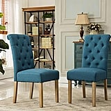 Roundhill Furniture Habit Solid Wood Tufted Parsons Dining Chairs (Set of 2)