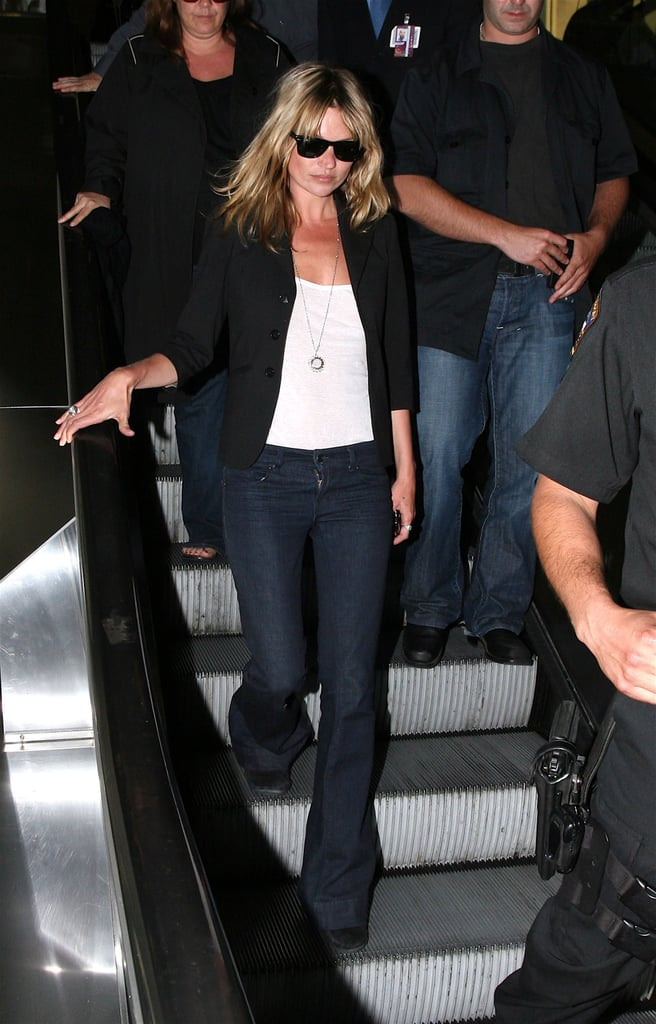 Another pair of flares kept Kate comfy as she flew to LA from Miami, FL.