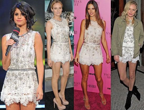 Diane Kruger, Selena Gomez, Kate Bosworth, Alessandra Ambrosio Wearing the same D&G white lace dress