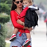 Alessandra Ambrosio and her son, Noah, made a devilish pair at an LA Halloween fair on Saturday.