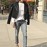 Olivia Palermo walked around NYC in a Marchesa jacket.