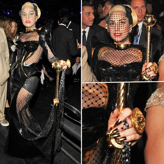 Lady Gaga In Versace Netting, Bustier and Sceptor at the 2012 Grammys: Do You Like It?