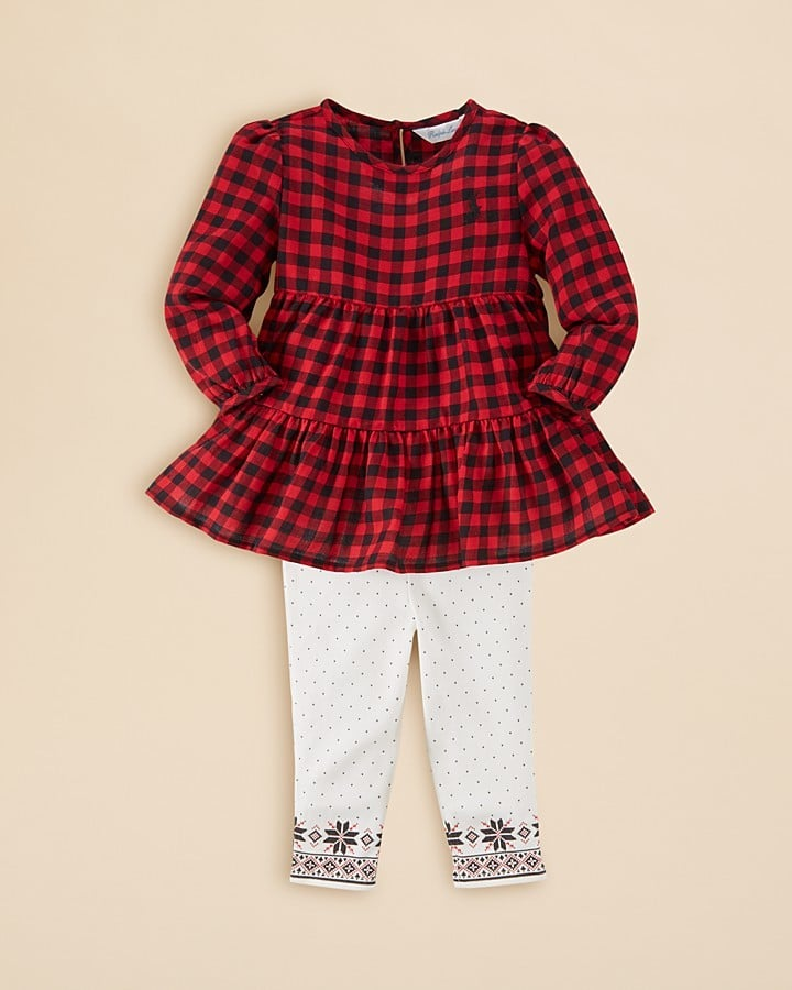 Ralph Lauren Infant Girls' Plaid Tiered Top & Leggings Set
