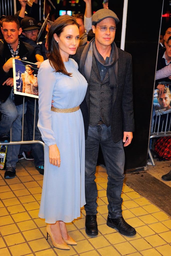 Angelina Jolie Wearing Blue Pleated Dress