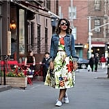 A Floral Dress Topped With a Jean Jacket