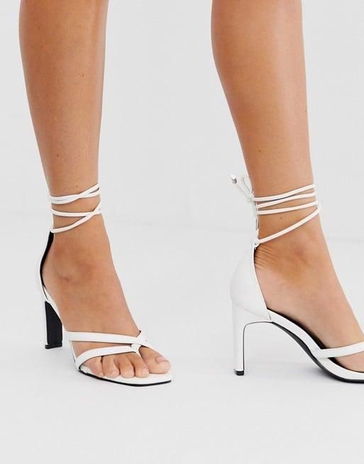 Z_Code_Z Monika White Square Toe Ankle Tie Heeled Sandals