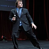 Jack Black got animated on stage at a dinner honoring Jeffrey Katzenberg at CinemaCon in Las Vegas.