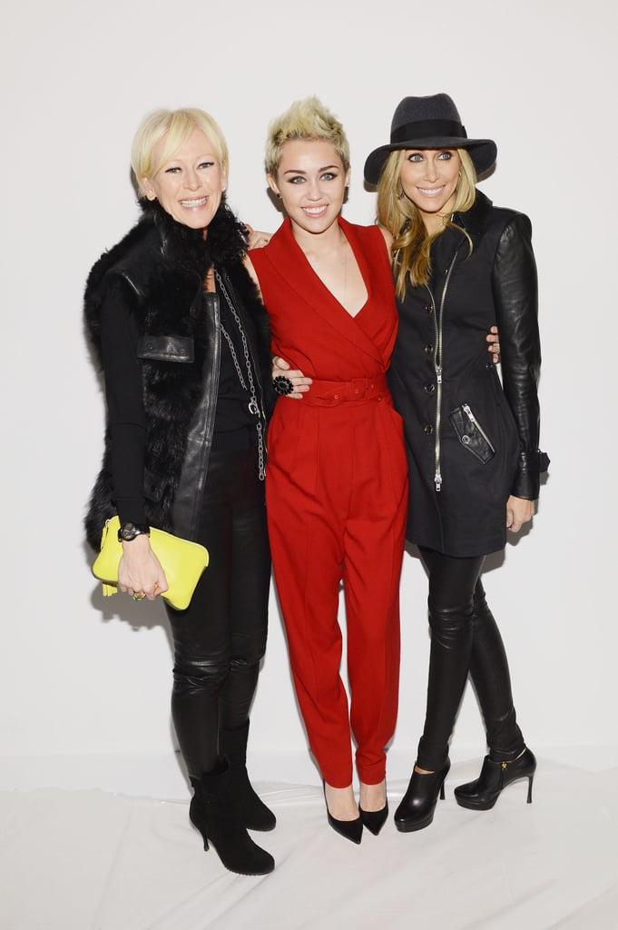 Miley Cyrus attended the Rachel Zoe fashion show with mum Tish and Joanna Coles.