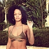 Rihanna relaxed by the pool during her vacation.
