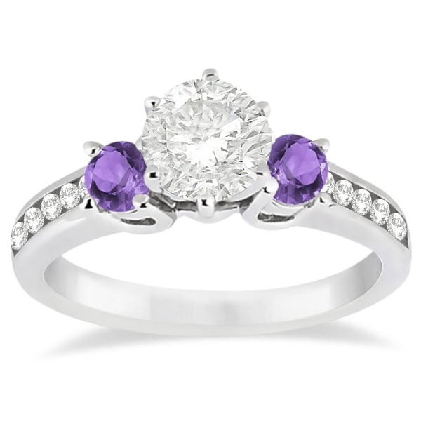 Three-Stone Amethyst and Diamond Engagement Ring 14k White Gold