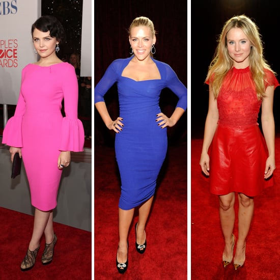 Bold, Electric Colours Emerald Green, Electric Blue and Hot Pink on the 2012 People's Choice Awards Red Carpet