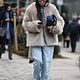 Winter Outfit Idea: A Furry Jacket and Baggy Jeans