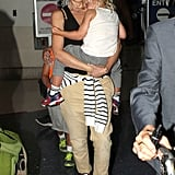 Gwen Stefani landed in LAX with her boys.