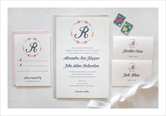 Floral Monogram Wedding Invitation