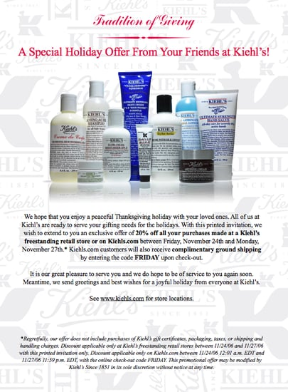 Friends and Family Discounts: Kiehl's