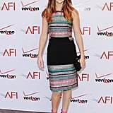 Jennifer Lawrence chose a colorful frock to attend the AFI Awards luncheon.