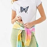 UO Monarch Butterfly Lettuce-Edge Baby Tee