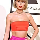 Taylor Swift started 2016 off with a bang by pairing this orange and pink set with a fun beaded choker at the Grammys.