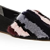 Rebecca Minkoff Amelie Suede and Striped Mink Fur Flats