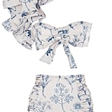 Johanna Ortiz Casuarrina Printed One-Shoulder Bikini Top ($495) Johanna Ortiz Printed High-Waisted Bikini Briefs ($195)