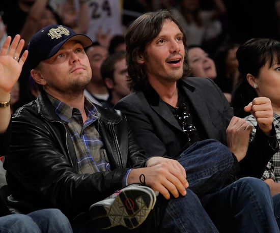 Slide Photo of Leonardo DiCaprio and Lukas Haas at the Lakers Game in LA