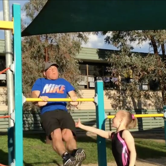 Dad Attempts His Daughter's Gymnastics Moves