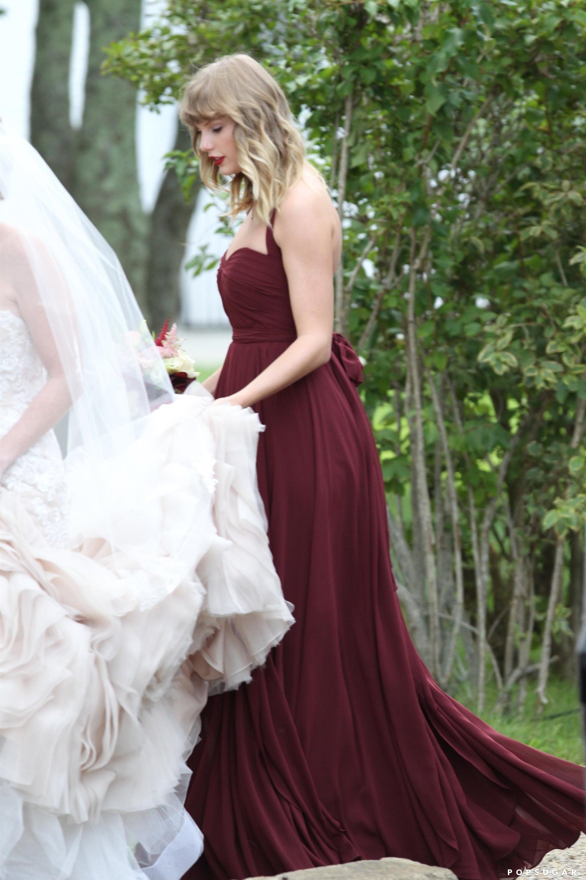 Taylor Swift S Maroon Bridesmaid Dress Popsugar Fashion,Summer Outdoor Wedding Summer Casual Wedding Dresses