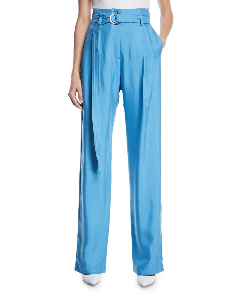 Sally LaPointe High-Waist Flat-Fly Straight-Leg Silk Pants