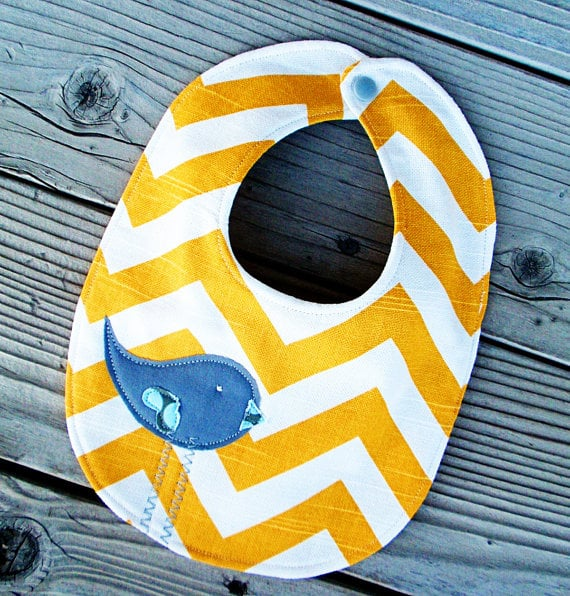 Yellow Chevron Baby Bib by Paisley Pockets