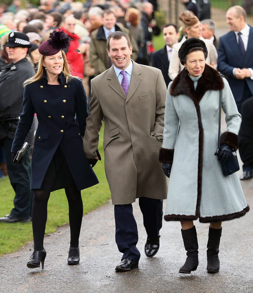 Princess Anne and Son Peter Phillips and Daughter-in-Law Autumn Phillips at Christmas Day Service in 2012
