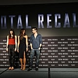Jessica Biel, Kate Beckinsale, and Colin Farrell stood on stage to promote Total Recall in Cancun, Mexico.