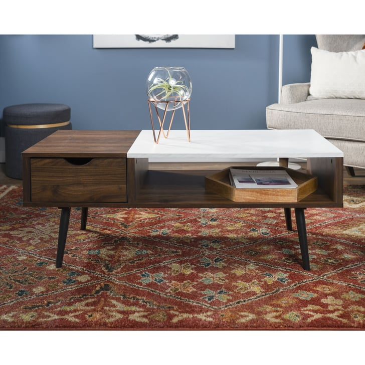 Manor Park Mid Century Modern Wood and Faux Marble Coffee Table | Best Space-Saving Midcentury ...