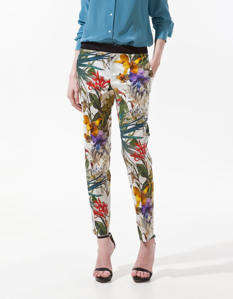 """It's no secret that printed trousers are everywhere this season. My personal favorites are these tropical print pants from Zara. I'd dress them down for day with chambray or style them up for a night out with a silky black peplum top."" — Allison McNamara, FabTV host and producer 