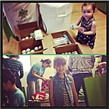 Haven and Honor Warren helped their mom's company, Honest, pack some boxes for charity.  Source: Instagram user jessicaalba