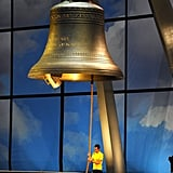 Bradley Wiggins, the first British winner of Tour De France race, rang the bell.