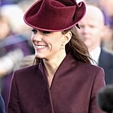 Kate Middleton celebrated her first official Christmas with the royal family after marrying William in 2011. She attended the traditional church service at Sandringham and greeted fans with flowers and gifts.