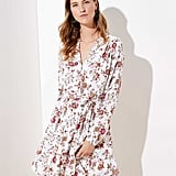 Loft Floral Ruffle Hem Dress