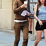 Katie Holmes smiled and grabbed coffee between takes on Thursday in NYC while filming Mania Days.