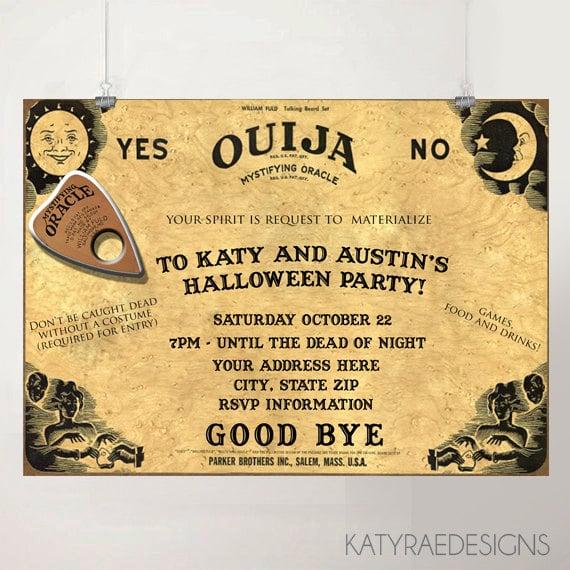 image regarding Printable Ouija Boards identified as Ouija Board Invitation ($8) Printable Halloween Social gathering