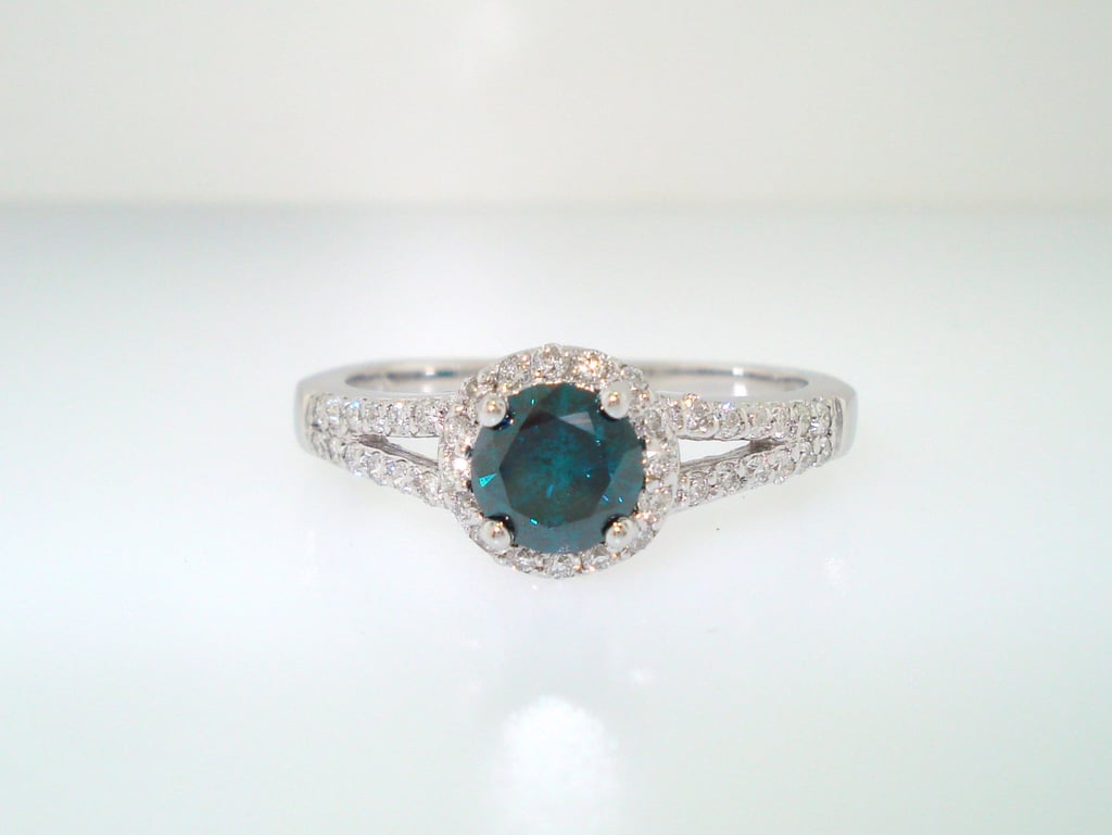 "We found your ""something blue,"" in this 1.03 carat engagement ring ($1,499)."