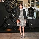 Ella Catliff layered leopard under her blazer at the Loewe Fashion Week bash.