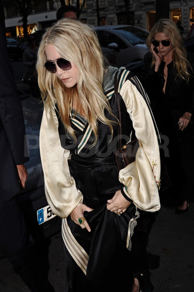 Mary-Kate and Ashley Olsen headed into a party.