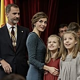 With Princess Leonor and Infanta Sofía at the opening of the Spanish Parliament in Madrid.