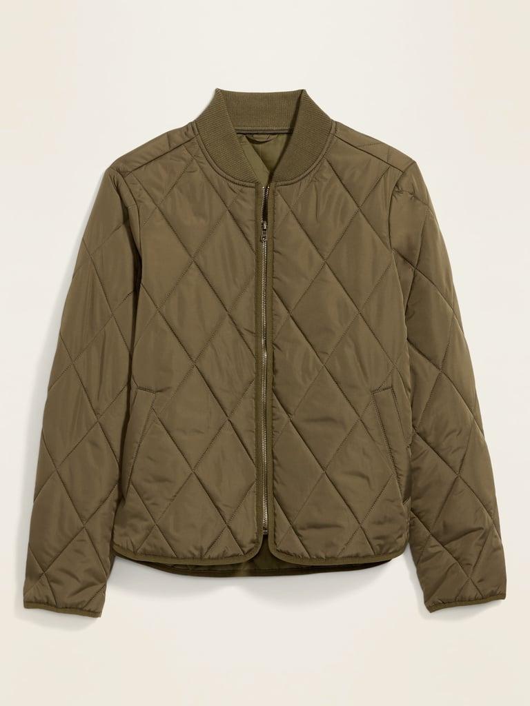 Diamond-Quilted Zip Jacket