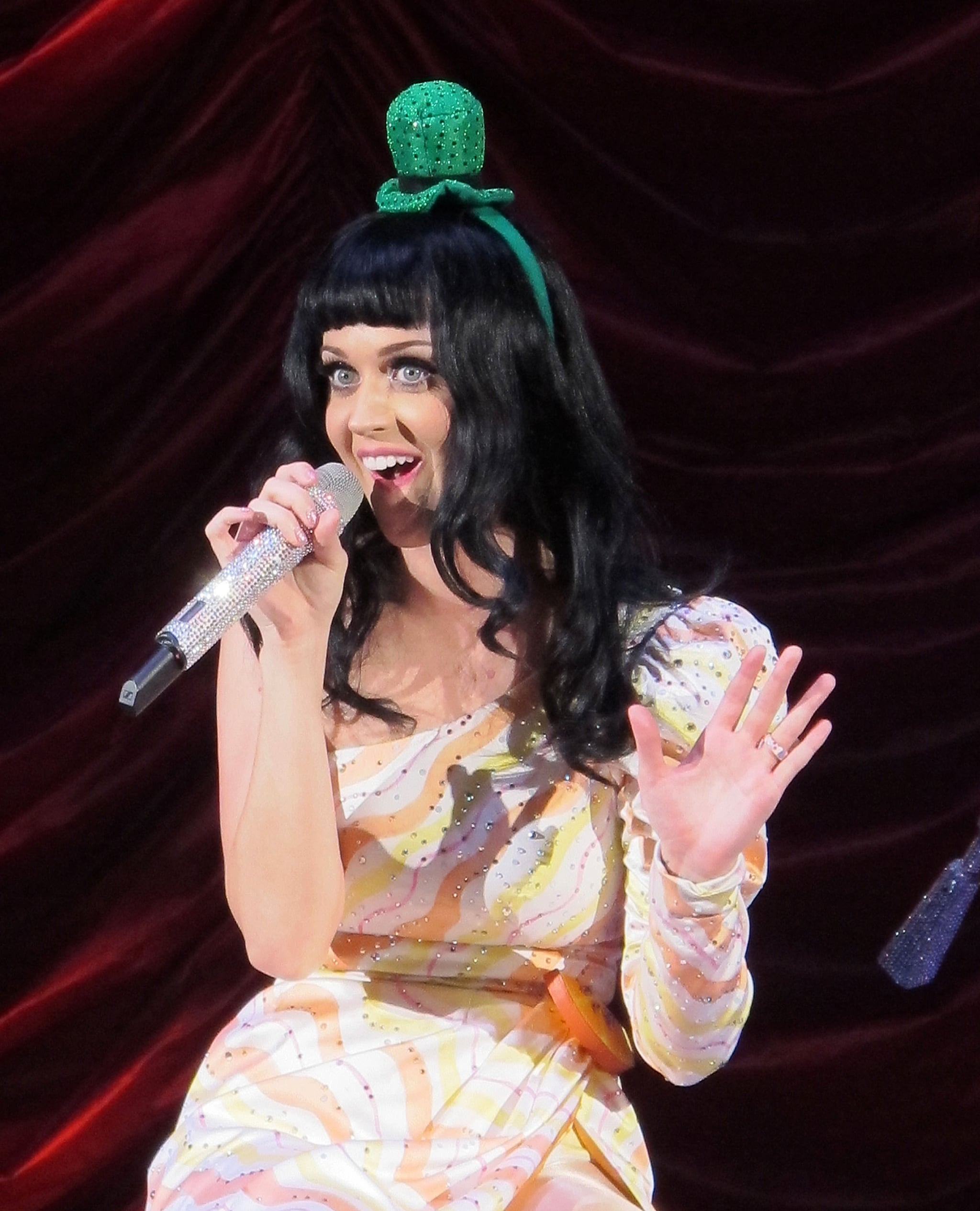 Katy Perry threw on a leprechaun hat during her California Dreams world tour in London on St. Patrick's Day 2011.