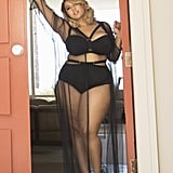 On Gabi: Strappy Bra ($46), Strappy High-Waist Brief ($20), and Sheer Tulle Robe ($65).