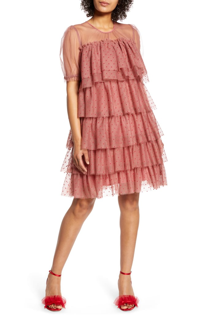 Halogen x Atlantic-Pacific Tiered Mesh Dress