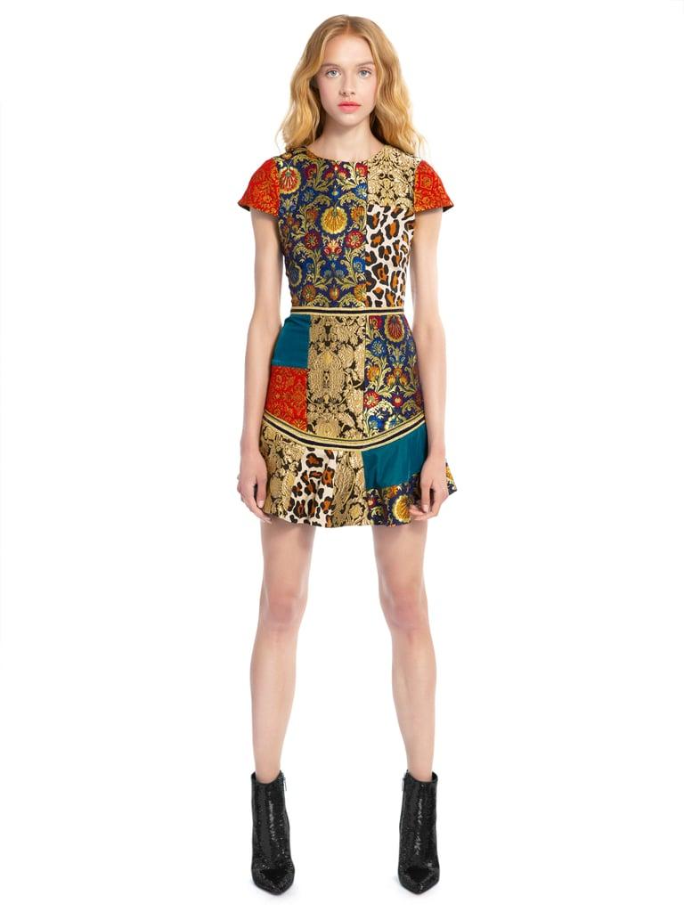 Alice + Olivia Rapunzel Patchwork Curve-Hem Dress