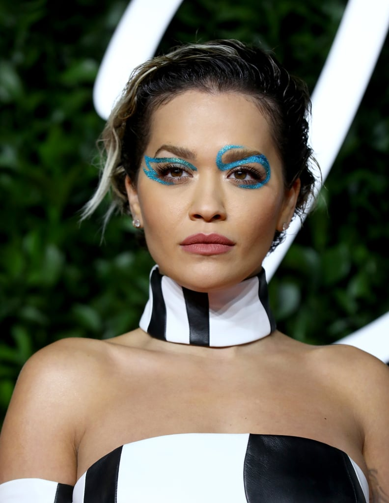 Rita Ora's Bold Blue Eyeliner at British Fashion Awards 2019
